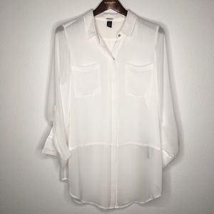 Black Label by Chico's Semi-Sheer Tunic Size 2